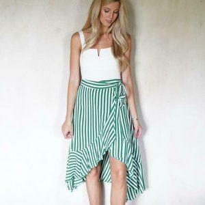 Faithfull The Brand Tramonti Ruffle Striped Skirt